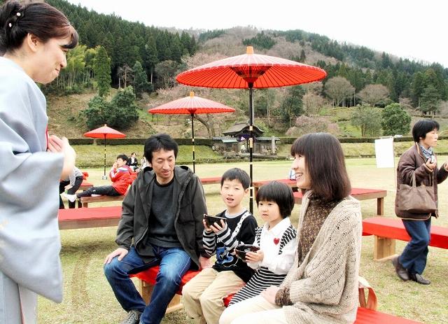 越前朝倉糸桜まつりで茶会を楽しむ観光客=8日、福井市の一乗谷朝倉氏遺跡