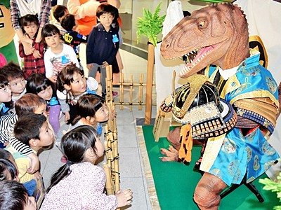 恐竜の五月人形、愛嬌満点 福井県立恐竜博物館に登場