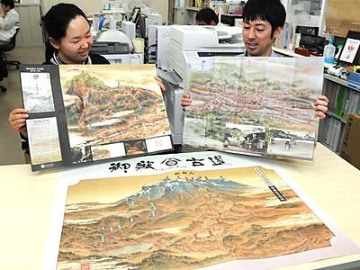 御嶽古道や旧福島宿、浮世絵風に紹介 外国人客向け地図とポスター