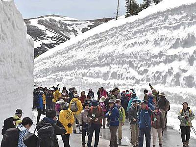 巨大「白銀の壁」見上げ散策 志賀草津高原ルート