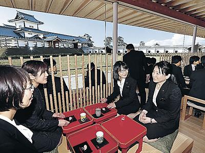 金沢城のパノラマ眺め 鶴の丸休憩館が完成