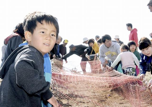 力を合わせて地引き網を引く小学生ら=23日、福井市の鷹巣海岸
