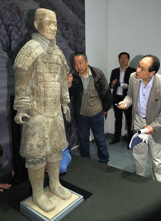 会場に運び込まれた兵馬俑=27日、長岡市の県立近代美術館