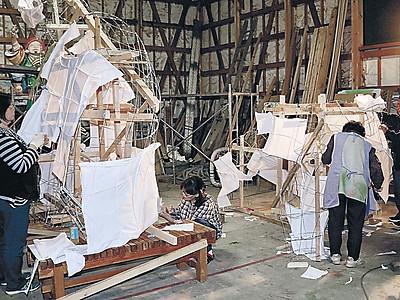 曳山の人形作り本格化 珠洲・飯田、燈籠山祭りに向け