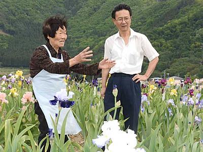 「アイリスまつり」和やかに 千曲の園主87歳描いた歌