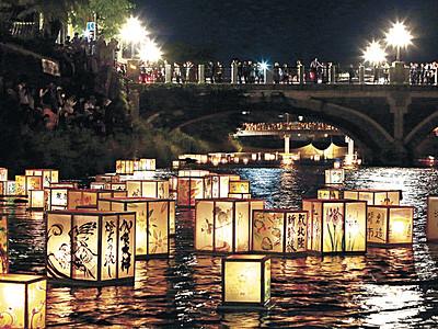 おんな川、揺れる光 百万石まつり開幕、浅野川で燈ろう流し