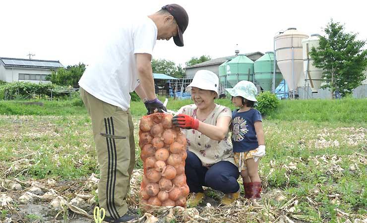家族連れなどが袋いっぱいにタマネギを収穫した昨年の玉ねぎ祭り