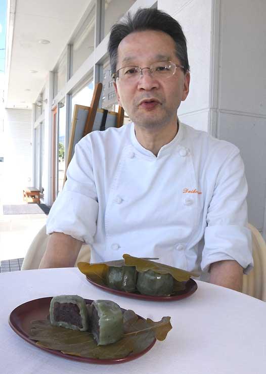 伊丹さんが再現したかしわ餅「信州大柏餅」。忘れがたい福島の味だ