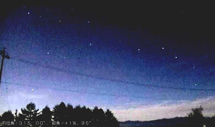 「ATLAS」で試験的に捉えた9日朝のしらびそ高原の星空