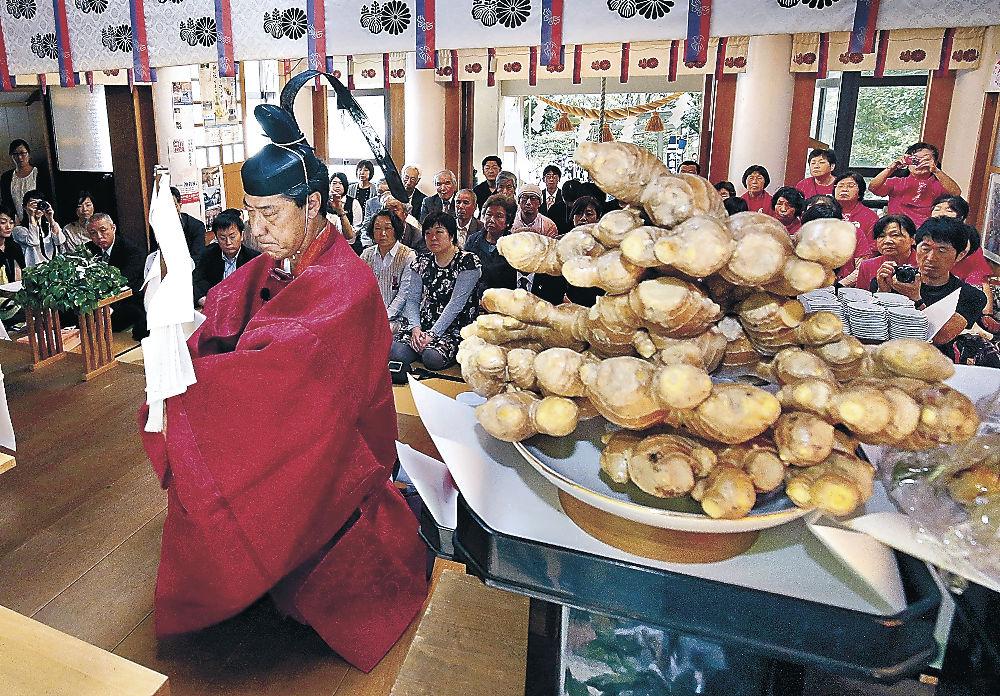 ショウガを前に無病息災などを祈願する神職=金沢市花園八幡町の波自加彌神社