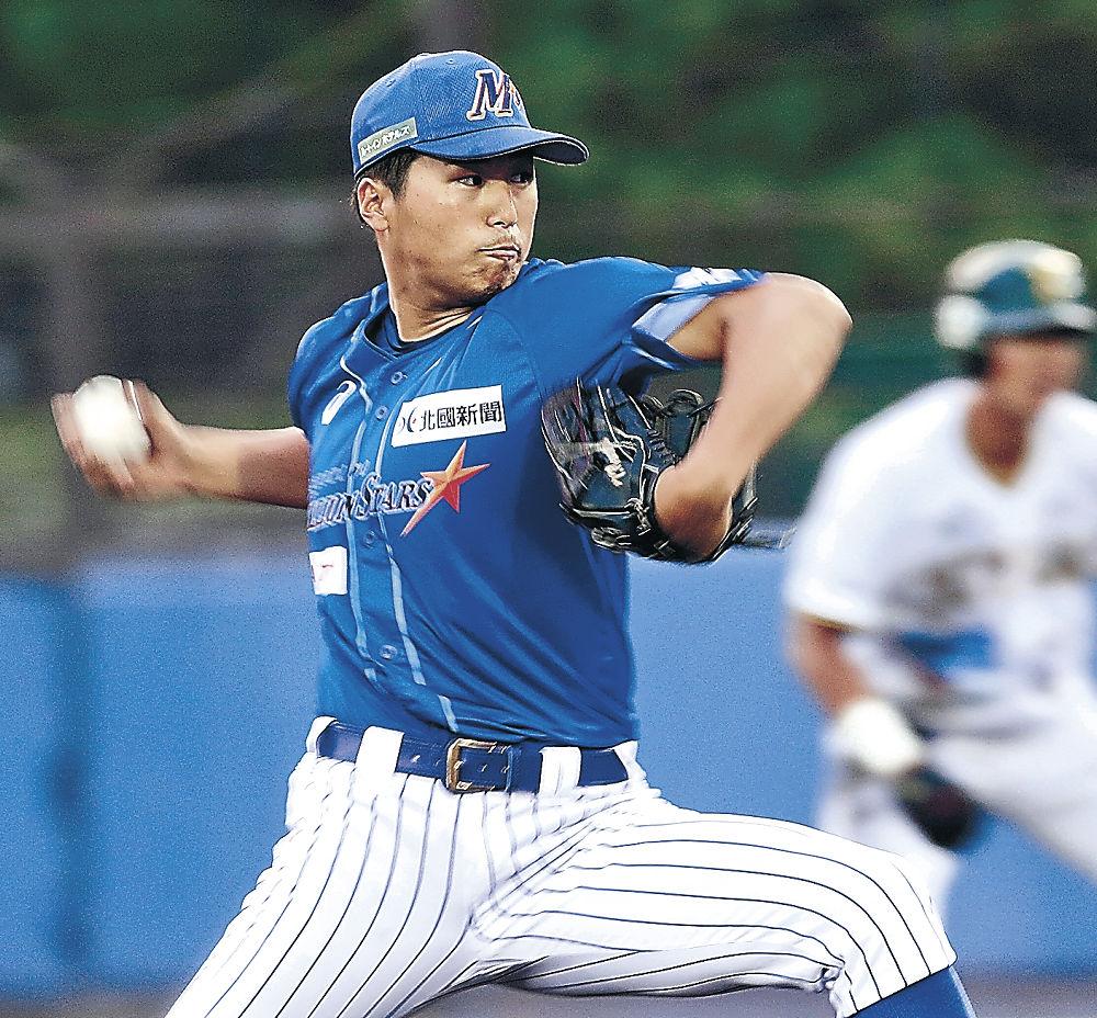 7回3失点8奪三振の力投で3勝目を挙げた石川の沼田=金沢市民野球場