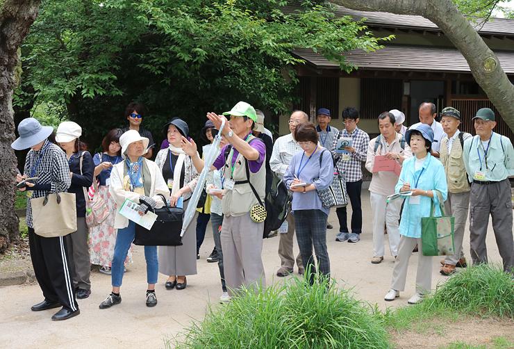 高岡古城公園を散策し、歴史や魅力を学ぶ参加者=高岡市古城