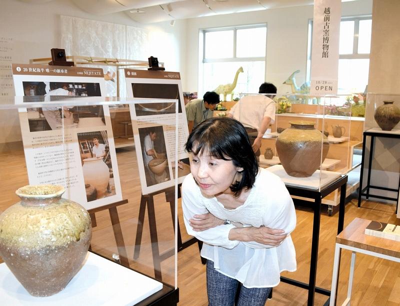 越前焼古来の技術の継承にスポットを当てた特別展=28日、サンドーム福井の福井ものづくりキャンパス