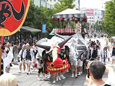 屋台や獅子舞、はなやかに 「ながの祇園祭」にぎわい