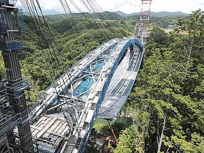 名勝になじむ「アーチ」 飯田「天龍峡大橋」工事進む