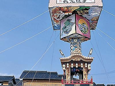 16メートルの燈籠山登場 珠洲・飯田