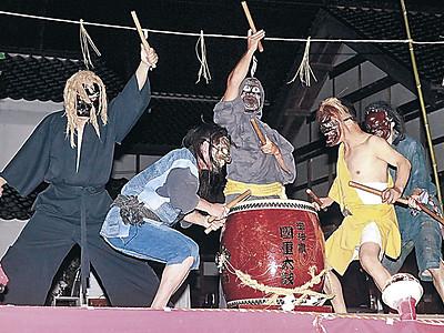 伝統の太鼓、勇壮に 能登・蓮響宵祭りで6団体