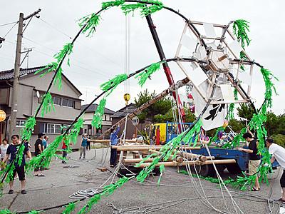 たてもんを組み立て 魚津で来月4、5日に祭り