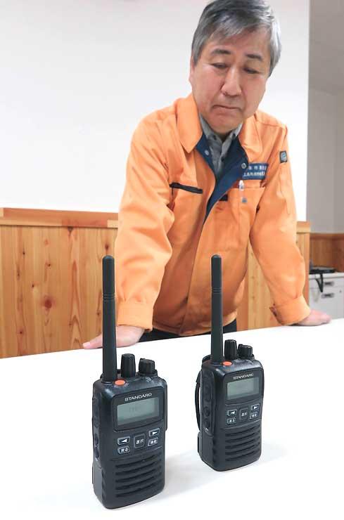 上高地消防隊の詰め所にあるデジタル無線機。各宿泊施設にも配備し、災害時の情報伝達に活用する