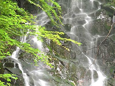 水しぶき、涼感あふれ 青木の滝山不動滝