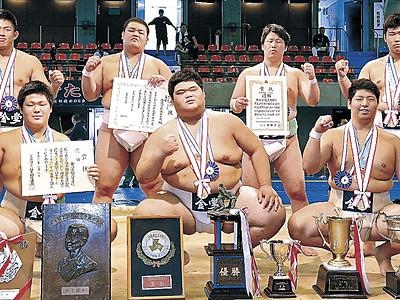 金沢学院V 高校総体相撲で金沢学院V