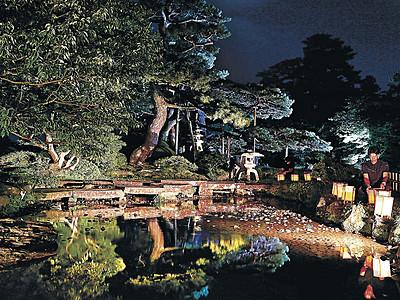 夜の曲水、涼しげに 金沢城公園や兼六園、きょうからライトアップ