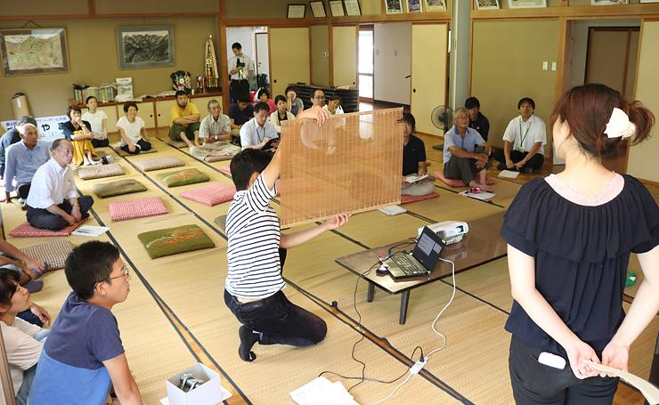 伝統文化を全国に発信するための案を披露する学生たち(手前)=蛭谷自治会館