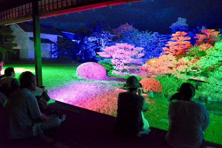 LEDライトによって色鮮やかに浮かび上がった真田邸の庭園