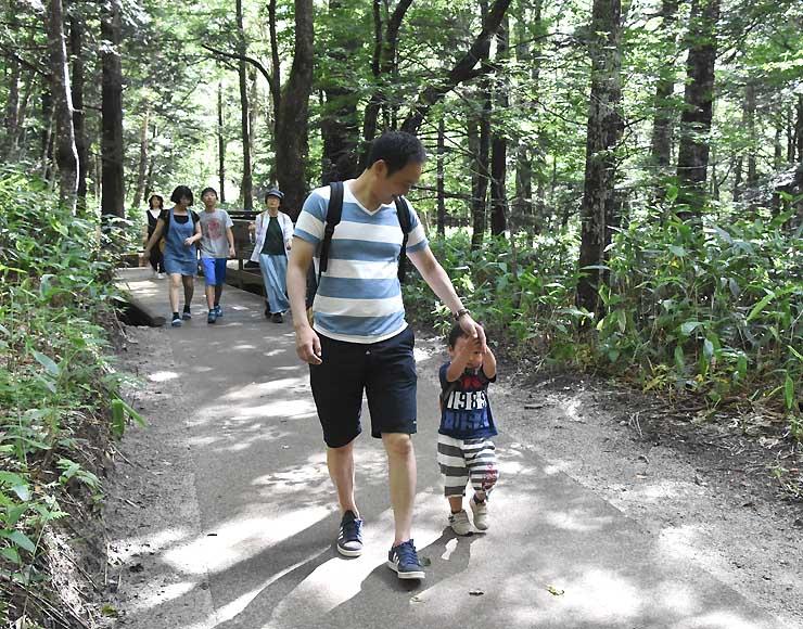 新しくなった遊歩道を歩く観光客
