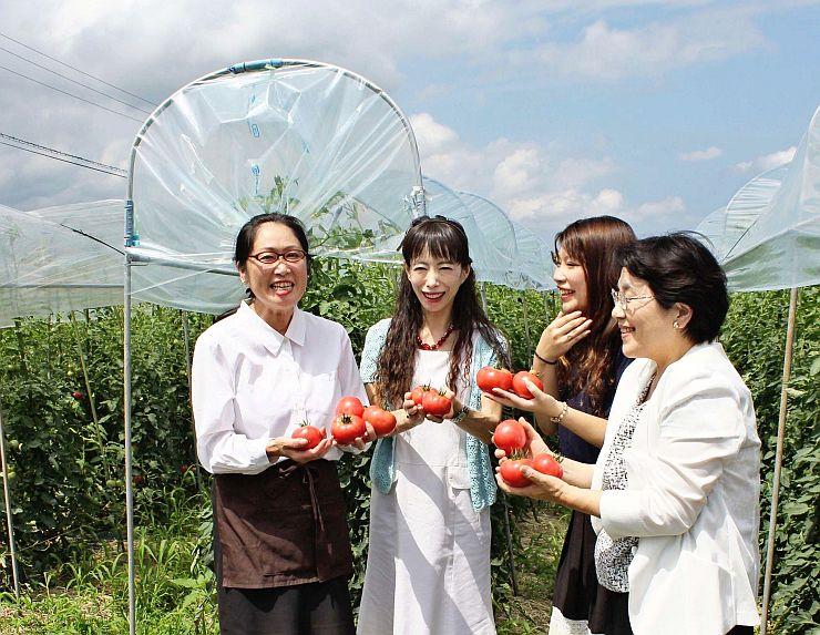 「お山のとまと食堂」で提供する高原トマトの出来具合を見る旅館のおかみら=妙高市