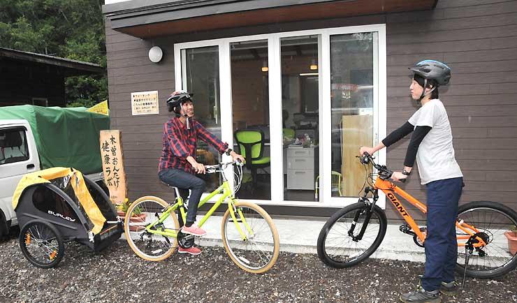 サイクリングスタンプラリーの発着点となっている「木曽おんたけ健康ラボ」