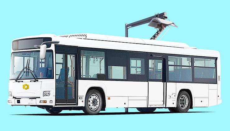 2019年に導入する電気バスのイメージ。屋根のパンタグラフから電気を取り込み充電する
