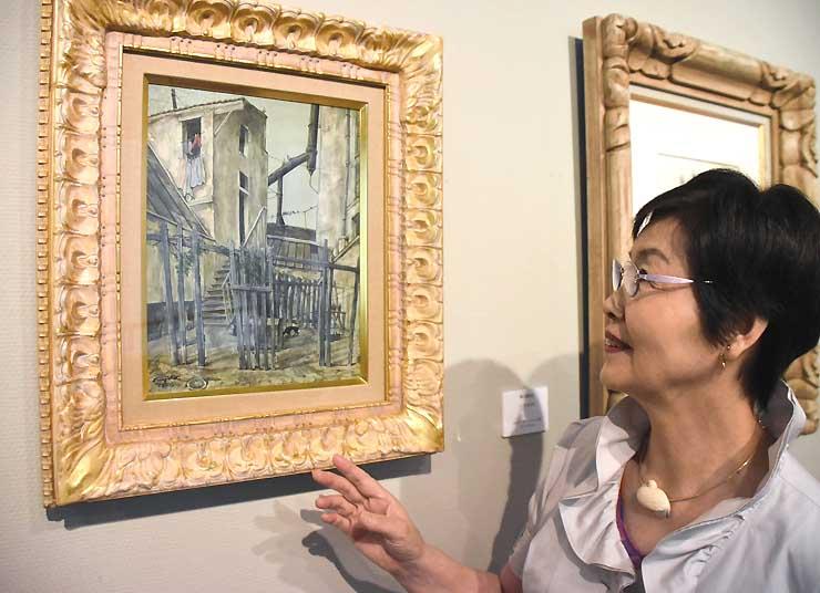 ハーモ美術館が購入した藤田の「la Cour(中庭にて)」