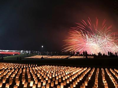 花火やろうそく湖面彩る 9月、あわら市で観月の夕べ