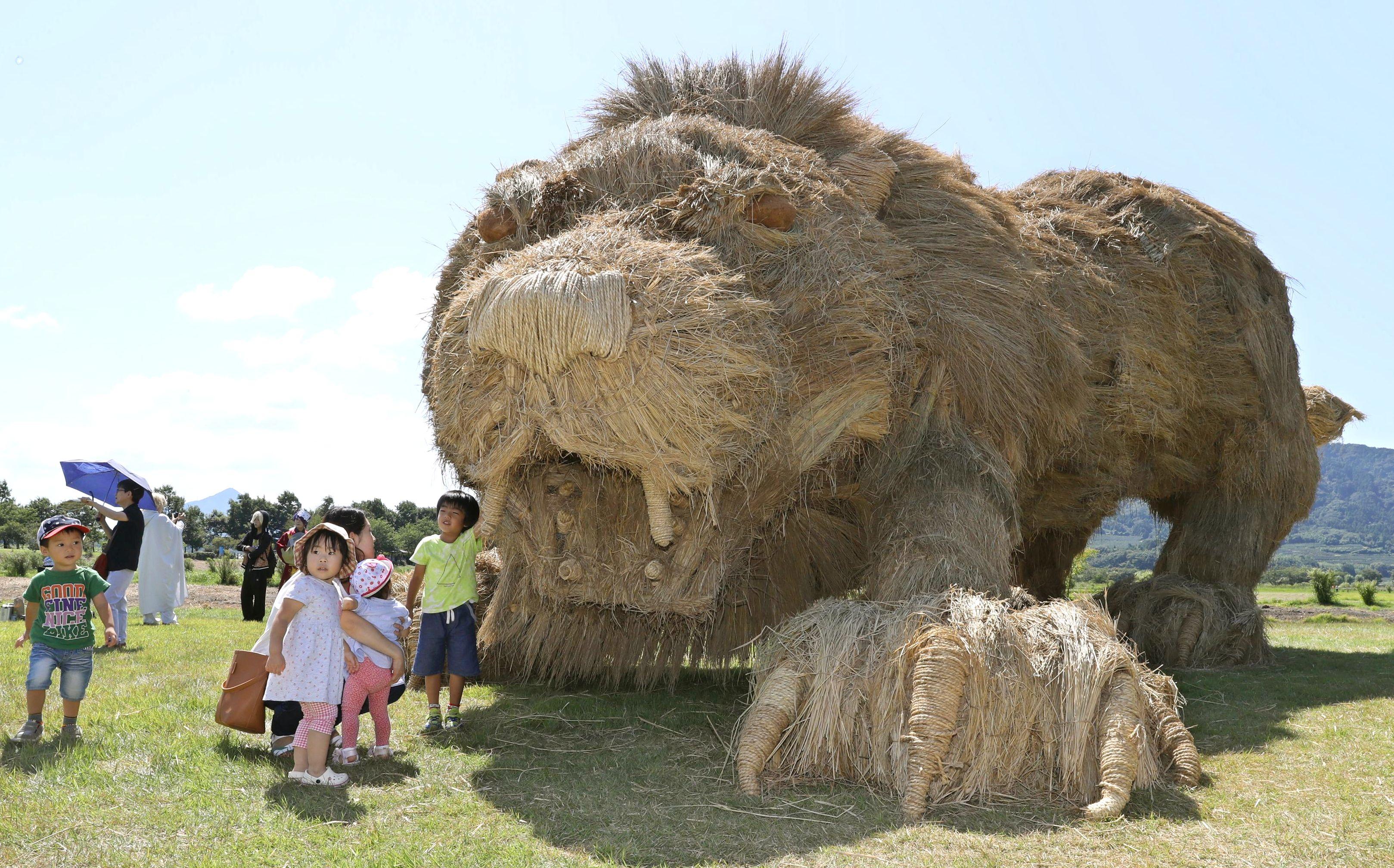 子どもたちが迫力に驚いた稲わらアートのライオン=2日、新潟市西蒲区の上堰潟公園