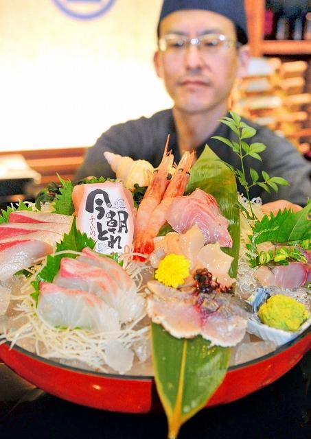 「今朝とれ」と書かれたカードを添えて提供される二番競りの魚を使った刺し身盛り合わせ=15日、福井市順化2丁目の「まるさん屋福井片町」