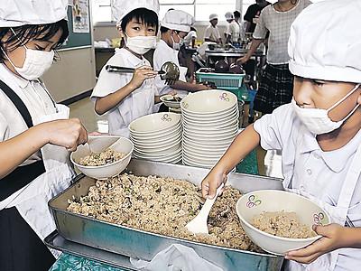 海女採りサザエ、給食に 輪島の7小中、まぜご飯提供