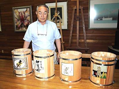 信州の酒、県産材のたるで 仕込み用に木祖の会社製作