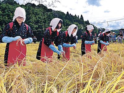新嘗祭へ感謝の収穫 金沢の献穀田、中学生が刈乙女役