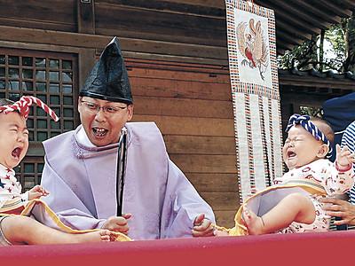 泣いたが勝ち 輪島・重蔵神社で初の「赤ちゃん相撲」