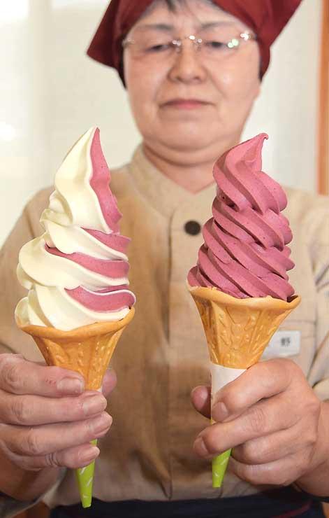 コンパラを使ったソフトクリーム(右)とバニラとのミックスソフトクリーム
