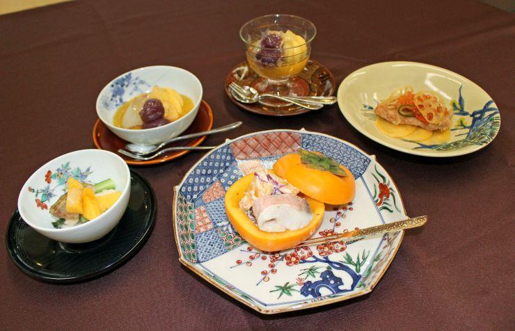 「日本料理古俣」の柿を使った料理