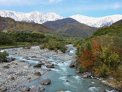 秋晴れの青空の下 北アルプス白馬連峰、雪化粧