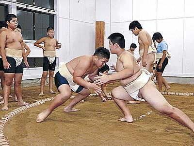 古豪土俵で稽古再び 七尾・能登香島中、相撲場改修が完了