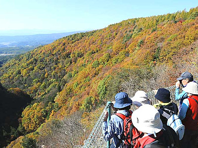 秋色の横谷峡一望 茅野の蓼科中央高原