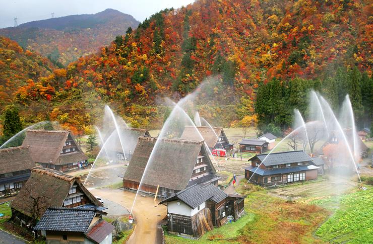 紅葉した山を背景に消火訓練が行われた菅沼合掌造り集落=南砺市菅沼