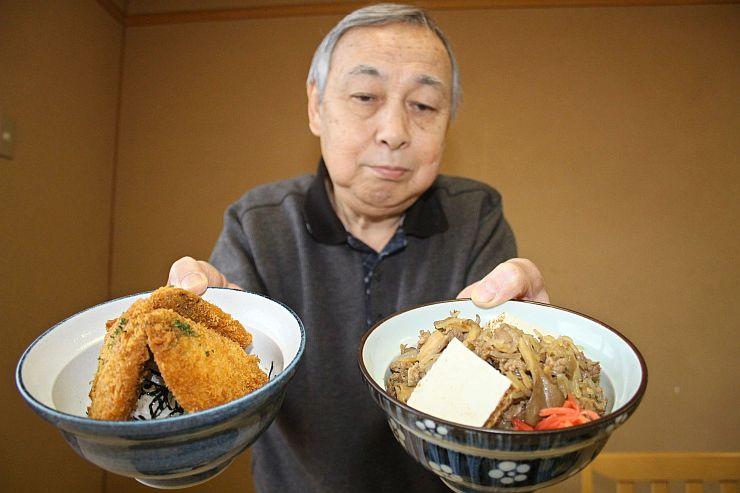 「運命丼」(右)と「出世丼」=加茂市