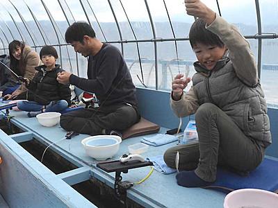 笑い止まらぬワカサギ釣り 諏訪湖で最盛期