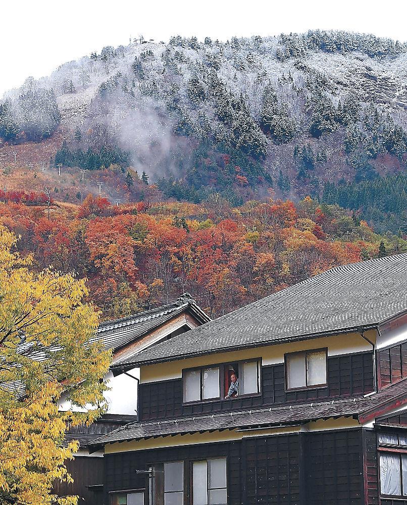 雪化粧した山と紅葉した木々が鮮やかな色の対比を描いた集落=白山市白峰地区