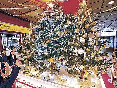 金沢駅、クリスマスムード コンコースにツリー6本